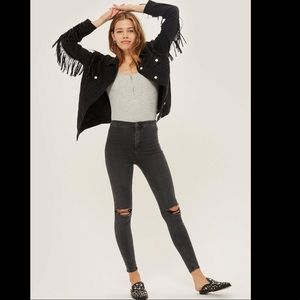 Topshop Joni Hi-Rise raw hem and busted knee jeans